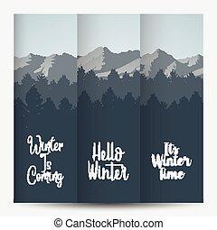 trois, bannière, paysage, hiver, forêt