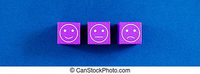trois, -, blocs, satisfaction, bois, concept, ils., expressions, différent, pourpre, service, client
