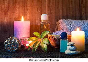 trois, bougies, serviettes, sel, huile
