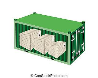 trois, caisses bois, dans, a, récipient cargaison