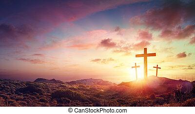 trois, christ, coucher soleil, colline, croix, crucifixion, jésus