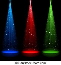 trois, conique, rgb, arbres, lumière