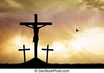 trois, croix, à, coucher soleil