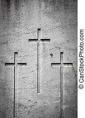 trois, croix, dans, pierre