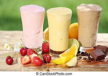 trois, délicieux, smoothies, à, yaourth