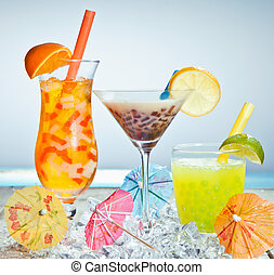 trois, différent, boba, thé, cocktails
