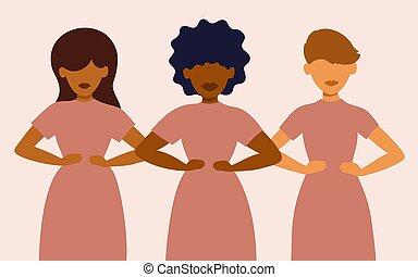 trois, ensemble, différent, nationalités, stand, femmes