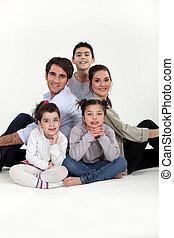trois, famille, enfants