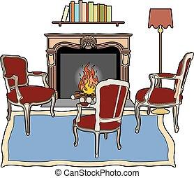 trois, fauteuils, devant, cheminée