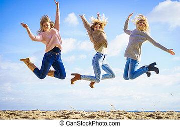 trois femmes, sauter