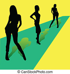 trois filles, sur, les, piste