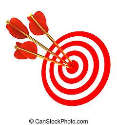 trois, flèches, dans, a, cible