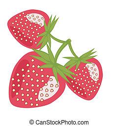 trois, fraises, blanc