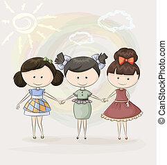 trois, heureux, amis fille