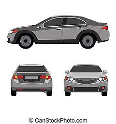 trois, illustration, grand, vecteur, sedan, sport, vue côté