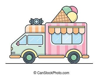 trois, illustration, roof., glace, camion, balles, gaufre, vecteur, crème, plat, cône, porte voix