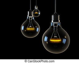 trois, incandescent, lumières, sur, arrière-plan noir
