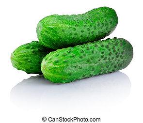 trois, isolé, arrière-plan vert, légume, concombre, blanc
