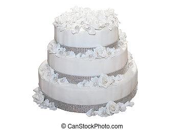 trois, isolé, gâteau noce tiered, blanc
