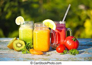 trois lunettes, de, légume, et, jus fruit