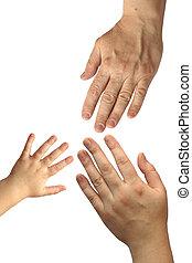 trois, mains