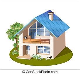 trois, maison, dimensions, modèle, famille