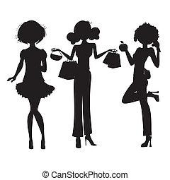 trois, mignon, mode, filles