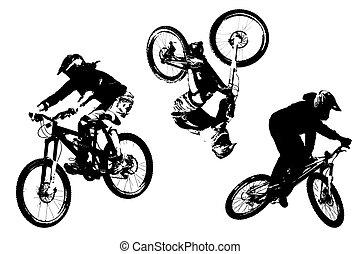 trois, mountainbike, silhouettes