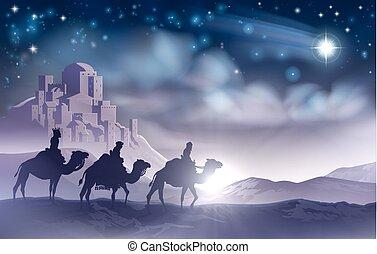 trois, noël, hommes, nativité, sage, illustration