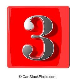 trois, nombre, icône