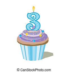 trois, nombre, petit gâteau