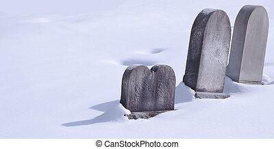 trois, pierres tombales, dans, neige