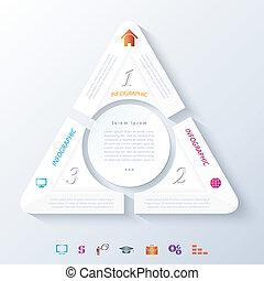 trois, résumé, infographic, segments, conception, cercle