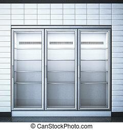 trois, rendre, portes, store., réfrigérateur, 3d