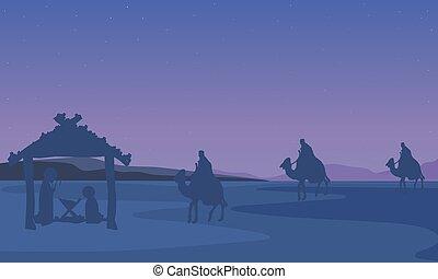 trois, rois, jésus, joseph, paysage, marie