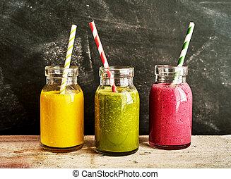 trois, savoureux, frais, sain, smoothies