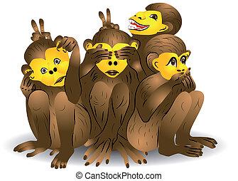 trois, singe