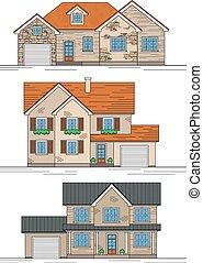 trois, suburbain, maisons