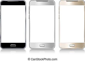 trois, téléphone, cellule, intelligent, mobile