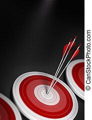 trois, une, a4, avantage, centre, premier, effet, stratégique, marché, compétitif, commercialisation, concept., barbouillage, image, bleu, ou, vertical, atteindre, beaucoup, cible, flèches, cibles, format., business
