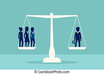 trois, une, vecteur, équilibrage, homme affaires, scale., sexe, inégalité, femmes affaires, symbole.