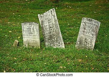 trois, vieux, pierre tombale