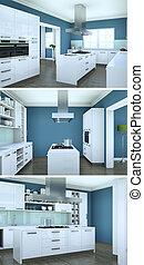 trois vues, de, moderne, bleu, intérieur, grenier, conception