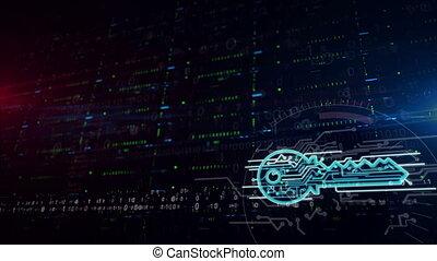 troisième, cyber, clã©, inférieur, symbole, fond