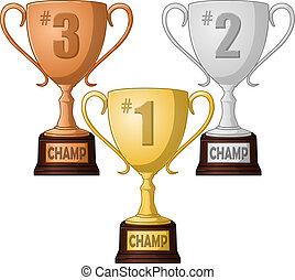troisième endroit, trophée, meute, seconde, premier