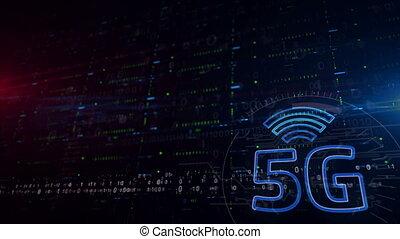 troisième, fond, inférieur, 5g, réseau