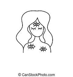 troisième, illustration., oeil, schizophrénie, femme
