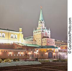 Troitskaya Tower of Moscow Kremlin at night, Russia