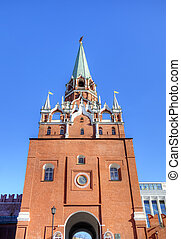 Troitskaya tower of Moscow Kremlin.