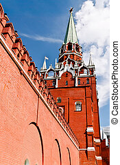 Troitskaya Tower of the Moscow Kremlin and the red wall